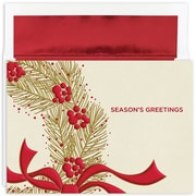 """Great Papers!® Holiday Greeting Cards, Wreath With Berries, 7.875"""" x 5.625"""", 16 Cards/16 Foil-Lined Envelopes (895100)"""