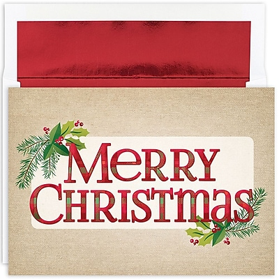 Great Papers!® Holiday Greeting Cards, Plaid Christmas Greetings, 7.875