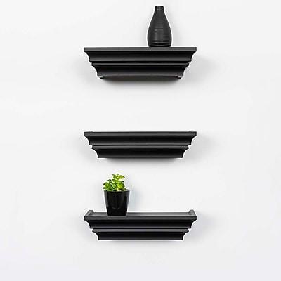 Kiera Grace Madison Contoured Wall Ledge & Shelf, 12-Inch, Black (FN00280-8MC)