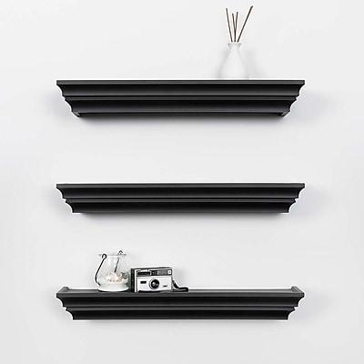 Kiera Grace Madison Contoured Wall Ledge & Shelf, 24-Inch, Black (FN00282-2MC)