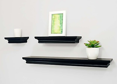 Kiera Grace Boston Wall Shelf, 6-Inch, 12-Inch, and 24-Inch, Black (FN00449-9)