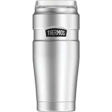 Thermos 20-Ounce Stainless Steel Travel Tumbler with 360 degrees Drink Lid, Silver (SK1200ST4)