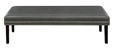 Right2Home Faux Leather Upholstered Bed Bench with Nail Head Trim in Lummus Steel (DS-D029002-329)
