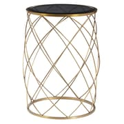 Right2Home Convex Round Brass Metal Accent Table with Smoked Glass Top Accent Table Metallic Gold (DS-D051030)