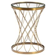 Right2Home Concave Round Brass Metal Accent Table with Glass Top Accent Table Metallic Gold (DS-D051029)