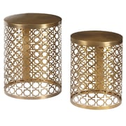 Right2Home Round Perforated Metal Brass Accent Tables - Set of 2 Accent Table Metallic Gold (DS-D051025)