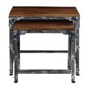 Right2Home Distressed Wood & Metal Nesting Tables, Brown, 2/St (DS-D051014)