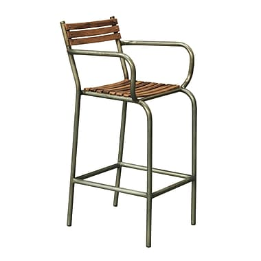 Right2Home Max Seat Height 28 Inches Solid Back Rustic Barclay Wood and Metal Frame Barstool (DS-P006045)