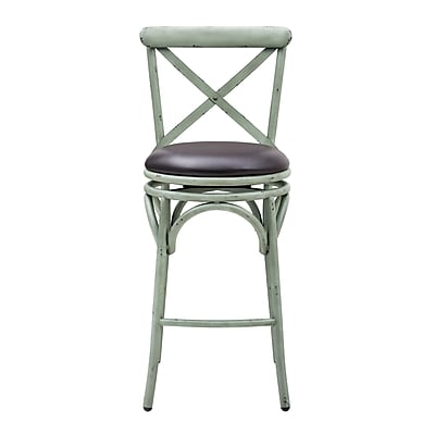 Right2Home Max Seat Height 30 Inches Solid Back Distressed Antique Blue Metal Swivel Barstool (DS-D076)