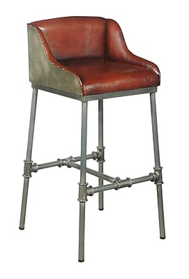 Right2Home Max Seat Height 28.5 Inches Solid Back Brandon Industrial Leather Barstool (DS-P006044)