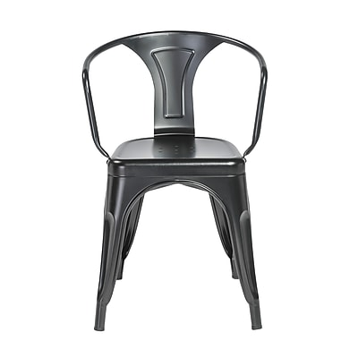 Euro Style Corsair Stacking Arm Chair in Matte Black - Set of 4 (04609MTBLK)