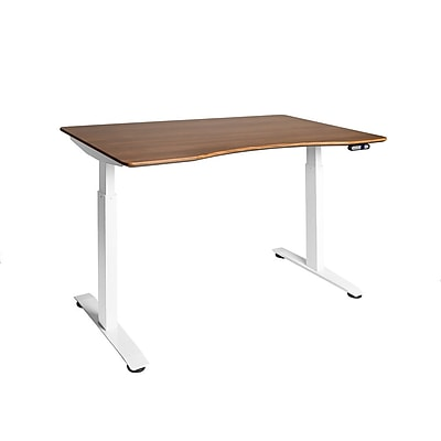 White AIRLIFT™ S2 Electric Height-Adjustable Standing Desk with Walnut Ergo Table Top with Beveled Bottom Edges, 54