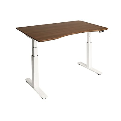 White AIRLIFT™ S3 Electric Height-Adjustable Standing Desk, with Walnut Ergo Table Top with Beveled Bottom Edges, 54