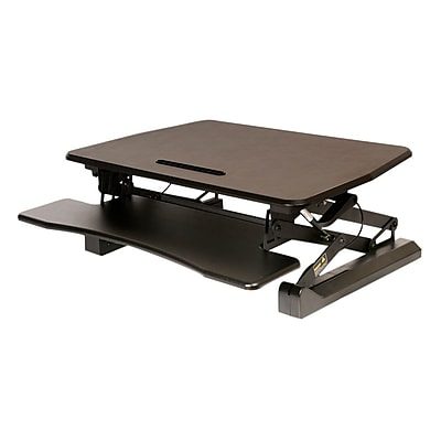 Seville Classics AIRLIFT® Pneumatic Dual Monitor Sit-to-Stand Adjustable Riser Converter Desk, 35.4