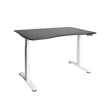 White AIRLIFT™ S2 Electric Height-Adjustable Standing Desk with Black Ergo Table Top with Beveled Bottom Edges, 54