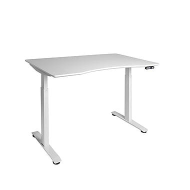 White AIRLIFT™ S2 Electric Height-Adjustable Standing Desk with White Ergo Table Top with Beveled Bottom Edges, 54