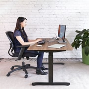 """Black AIRLIFT™ S2 Electric Height-Adjustable Standing Desk with Walnut Ergo Table Top with Beveled Bottom Edges, 54"""" x 30"""""""