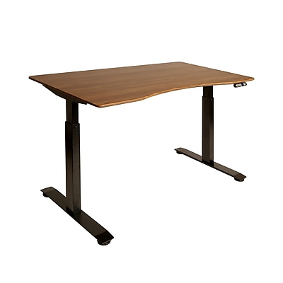 Black AIRLIFT™ S2 Electric Height-Adjustable Standing Desk with Walnut Ergo Table Top with Beveled Bottom Edges, 54