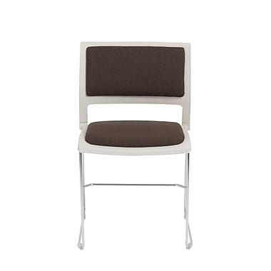 Euro Style Raylan Stack Chair, White Frame with Charcoal Seat, Set of 4 (17260CHAR)
