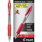 Pilot G2 Retractable Gel Pens, Ultra Fine Point, Red Ink, Dozen (31279)