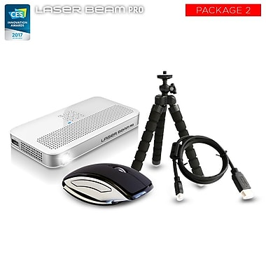 Cremotech Laser Beam Pro C200 Focus Free Wireless HD Projector w/ Accessories Pack #2, White (C200ACCESSBM)
