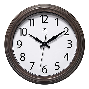 """Infinity Instruments 12"""" Round Wall Clock, Antique Brown Finish Case  (15355WL-4255)"""
