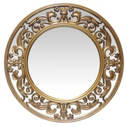 "Infinity Instruments 23.5"" Round Wall Mirror, Brushed Gold Finish  (15368GD)"