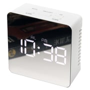 "Infinity Instruments 3.25"" Square Tabletop Clock, White Finish  (15375WH)"