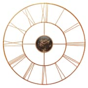 """Infinity Instruments 45.25"""" Round Wall Clock, Rose Gold Finish  (15382RG)"""