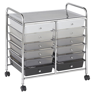 ECR4Kids 12 Drawer Mobile Organizer, Grayscale (ELR-0261-GY)