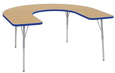 "ECR4Kids 60""x66"" Horseshoe Contour Activity Table Oak/Blue/Silver Standard Leg (14703-OKBLSVSS)"