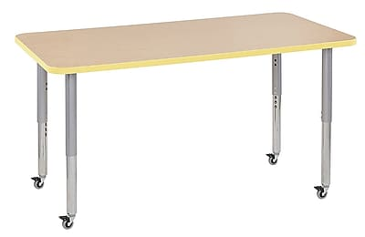 "ECR4Kids 30"" x 60"" Rectangular Contour Activity Table Maple/Squash/Silver Super Leg (14711-MPSQSVSL)"