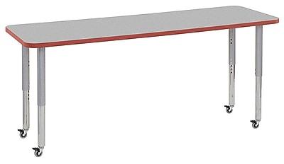 "ECR4Kids 24"" x 72"" Rectangular Contour Activity Table Grey/Tangerine/Silver Super Leg (14709-GYTGSVSL)"