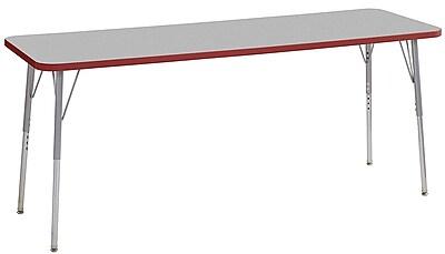 "ECR4Kids 24"" x 72"" Rectangular Contour Activity Table Grey/Red/Silver Standard Leg (14709-GYRDSVSS)"