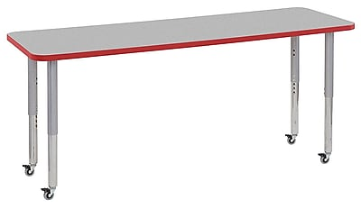 "ECR4Kids 24"" x 72"" Rectangular Contour Activity Table Grey/Red/Silver Super Leg (14709-GYRDSVSL)"