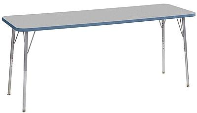 "ECR4Kids 24"" x 72"" Rectangular Contour Activity Table Grey/Powder Blue/Silver Standard Leg (14709-GYPBSVSS)"