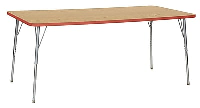 "ECR4Kids 36"" x 72"" Rectangular Contour Activity Table Oak/Tangerine/Silver Standard Leg (14713-OKTGSVSS)"