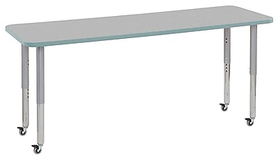 "ECR4Kids 24"" x 72"" Rectangular Contour Activity Table Grey/Seafoam/Silver Super Leg (14709-GYSFSVSL)"