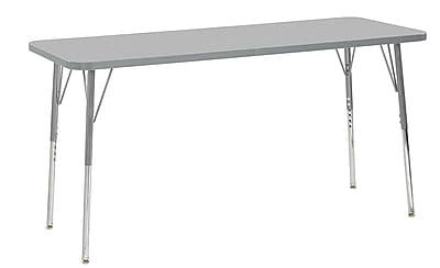 "ECR4Kids 24"" x 60"" Rectangular Contour Activity Table Grey/Light Grey/Silver Standard Leg (14708-GYLGSVSS)"