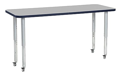 "ECR4Kids 24"" x 60"" Rectangular Contour Activity Table Grey/Navy/Silver Super Leg (14708-GYNVSVSL)"