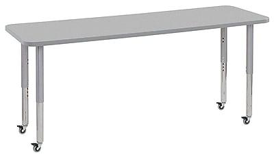 "ECR4Kids 24"" x 72"" Rectangular Contour Activity Table Grey/Light Grey/Silver Super Leg (14709-GYLGSVSL)"