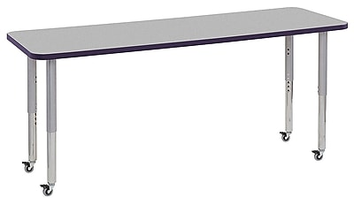 "ECR4Kids 24"" x 72"" Rectangular Contour Activity Table Grey/Eggplant/Silver Super Leg (14709-GYEPSVSL)"