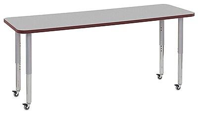 "ECR4Kids 24"" x 72"" Rectangular Contour Activity Table Grey/Burgundy/Silver Super Leg (14709-GYBYSVSL)"