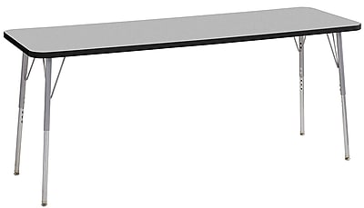 "ECR4Kids 24"" x 72"" Rectangular Contour Activity Table Grey/Black/Silver Standard Leg (14709-GYBKSVSS)"