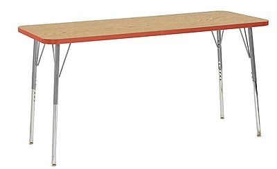 "ECR4Kids 24"" x 60"" Rectangular Contour Activity Table Oak/Tangerine/Silver Standard Leg (14708-OKTGSVSS)"