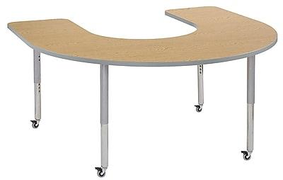 "ECR4Kids 60""x66"" Horseshoe Contour Activity Table Oak/Light Grey/Silver Super Leg (14703-OKLGSVSL)"
