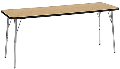 "ECR4Kids 24"" x 72"" Rectangular Contour Activity Table Oak/Black/Silver Standard Leg (14709-OKBKSVSS)"