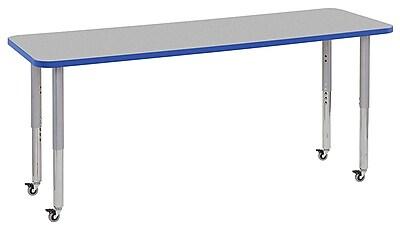 "ECR4Kids 24"" x 72"" Rectangular Contour Activity Table Grey/Blue/Silver Super Leg (14709-GYBLSVSL)"