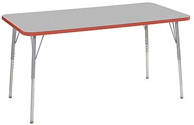 "ECR4Kids 30"" x 60"" Rectangular Contour Activity Table Grey/Tangerine/Silver Standard Leg (14711-GYTGSVSS)"