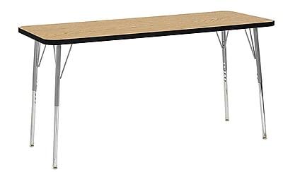 "ECR4Kids 24"" x 60"" Rectangular Contour Activity Table Oak/Black/Silver Standard Leg (14708-OKBKSVSS)"